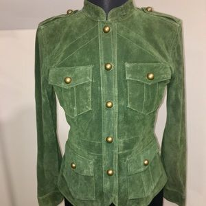 Hunter Green Genuine Suede Jacket Military Style